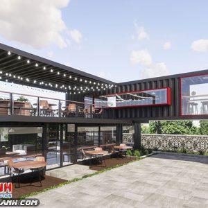 Quán Cafe Khung Thép Tiền Chế
